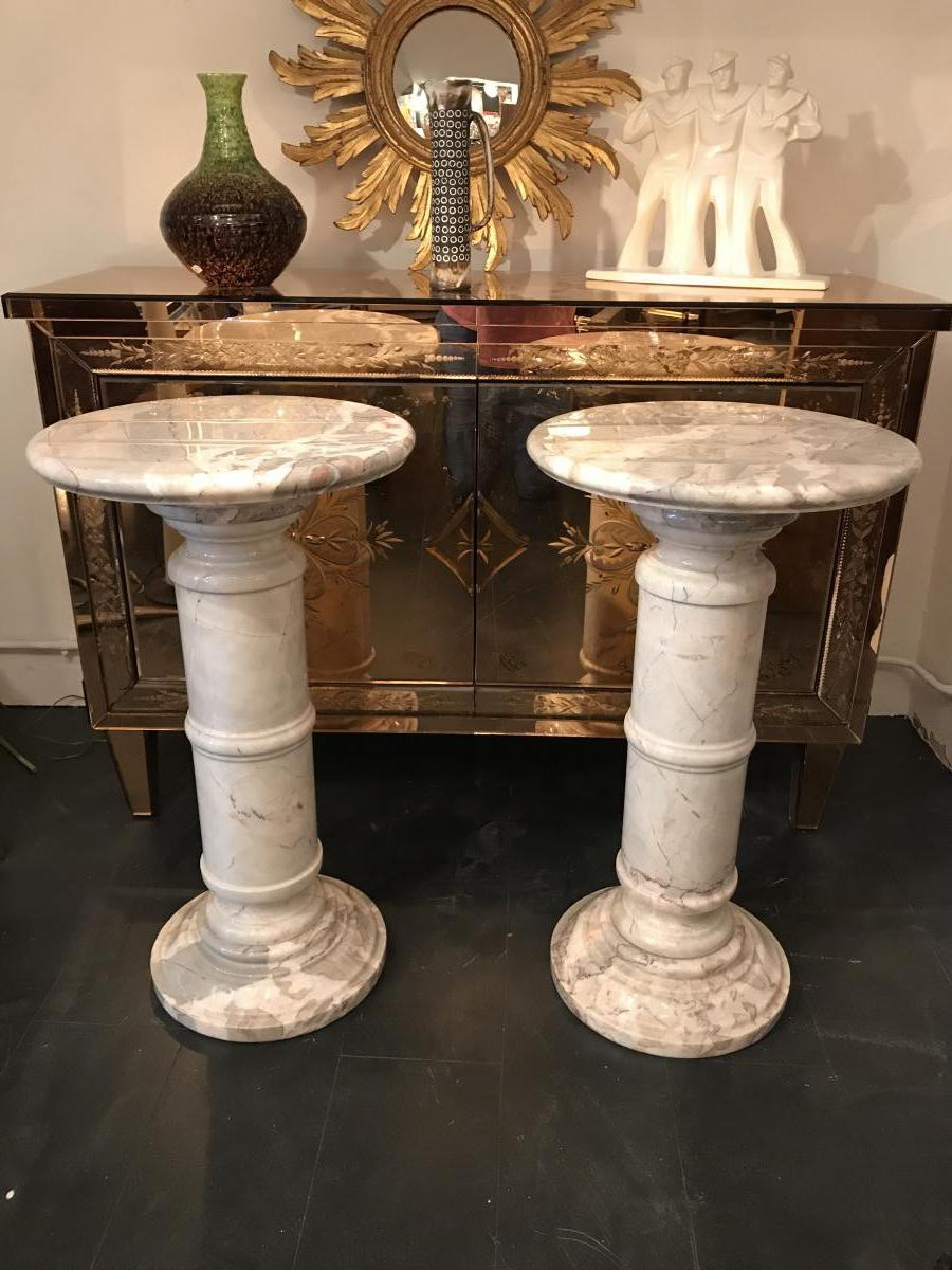 Antique paired pedestals