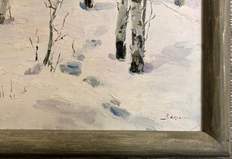 "Antique painting ""snow birches"""
