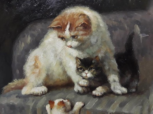 "Antique painting ""Cat with kittens"""