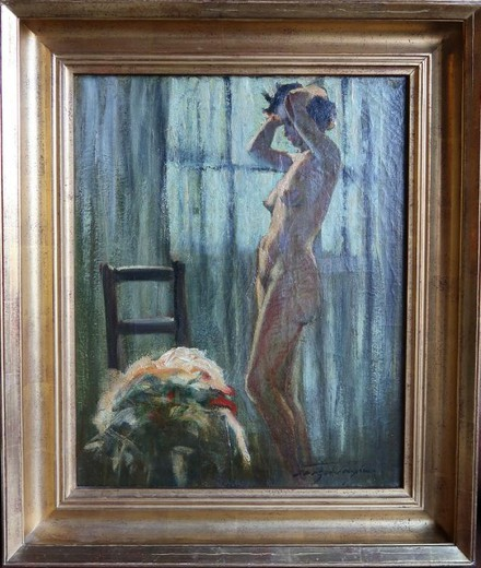 "Antique painting ""Naked in the moonlight"""