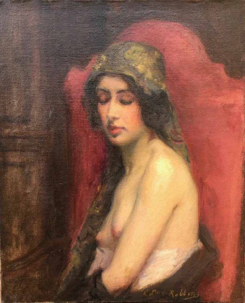 Antique painting  of a naked woman