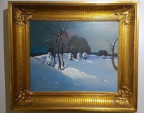 "Antique painting ""Winter landscape"""