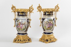 Antique pair of vases of Sevres manufactory