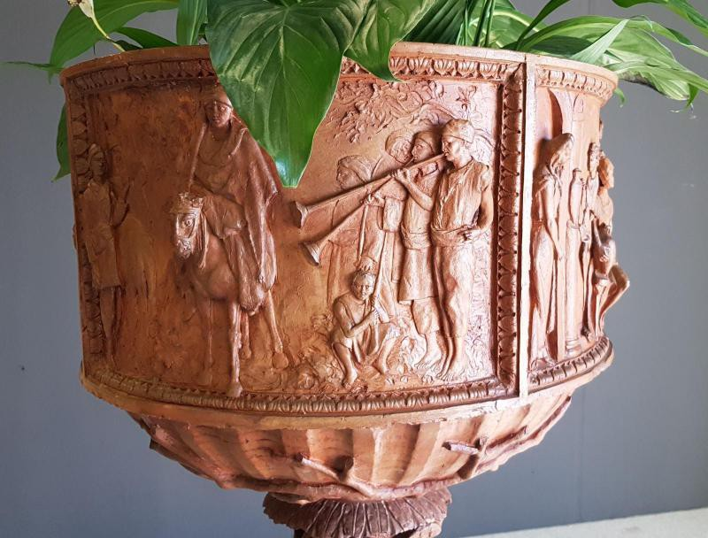 Antique terracotta flower pot