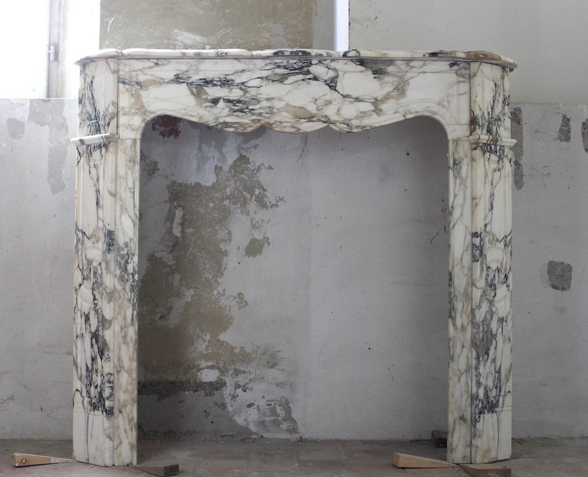 Antique Louis XV pompadour plat fireplace