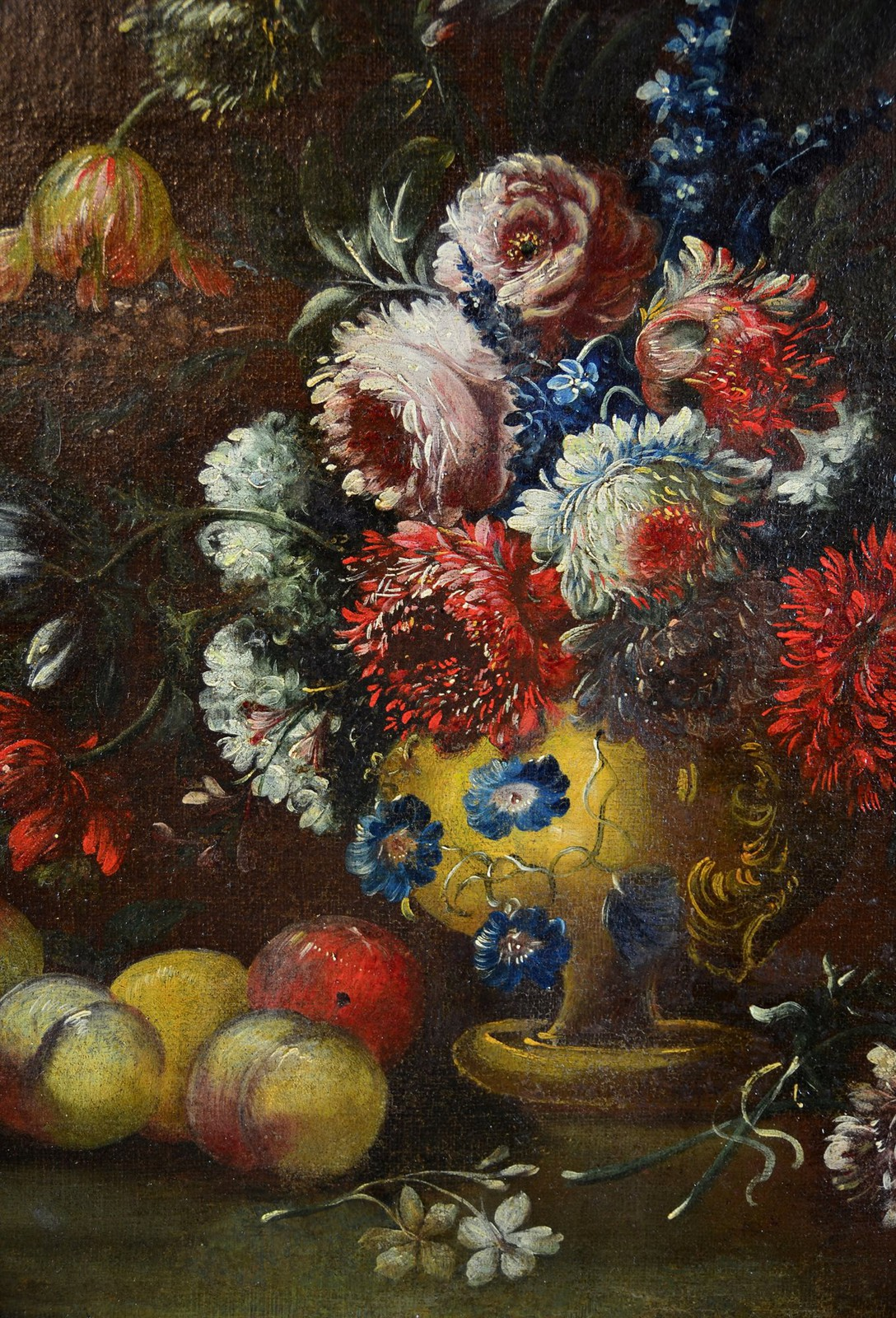 Antique still life painting with flowers and peaches
