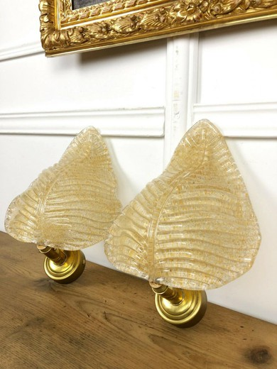 Antique pair murano wall lights