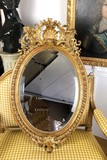 Antique Napoleon III oval mirror