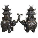 Antique pair japanese incense burners elephants