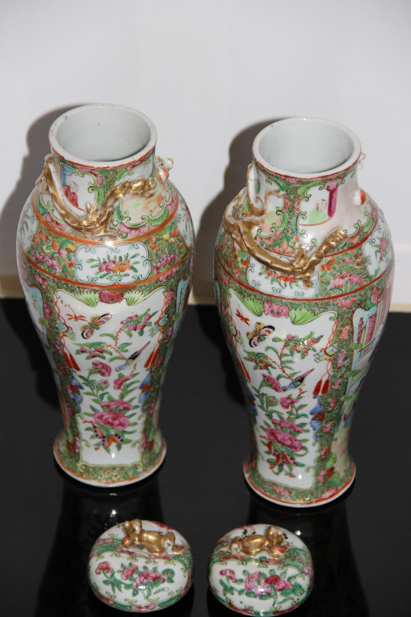 Pair Of Vases Cutlery Porcelain From China XIXth