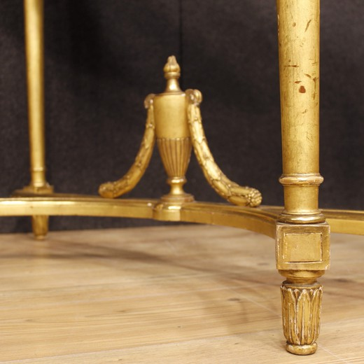 French Gilt Demilune Console In Louis XVI Style