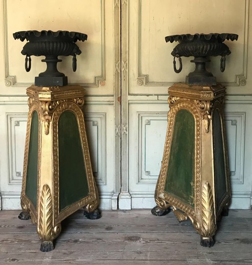 Pair Of Cast Iron Urns