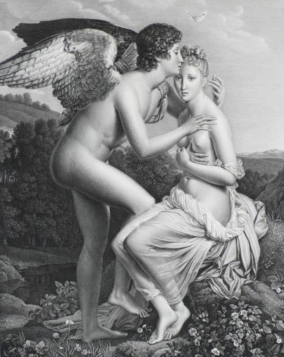 Psyche And The Amur Of After Gerard Engraved By Pradier