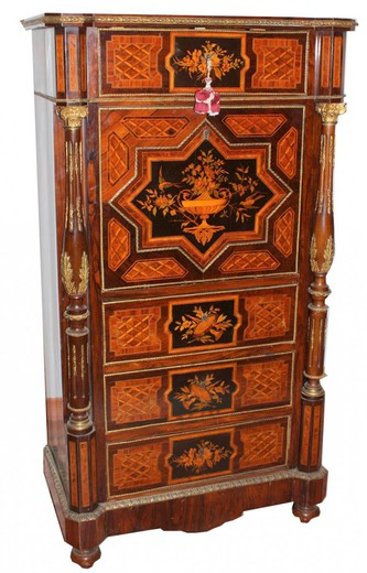 Wonderful Secretary with different qualities of precious wood application in finely chiseled gilt bronze France Napoleon III period.