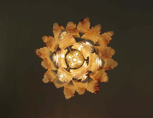 "Italian milky white and amber ""stalactites"" Murano glass chandelier by Mazzega."