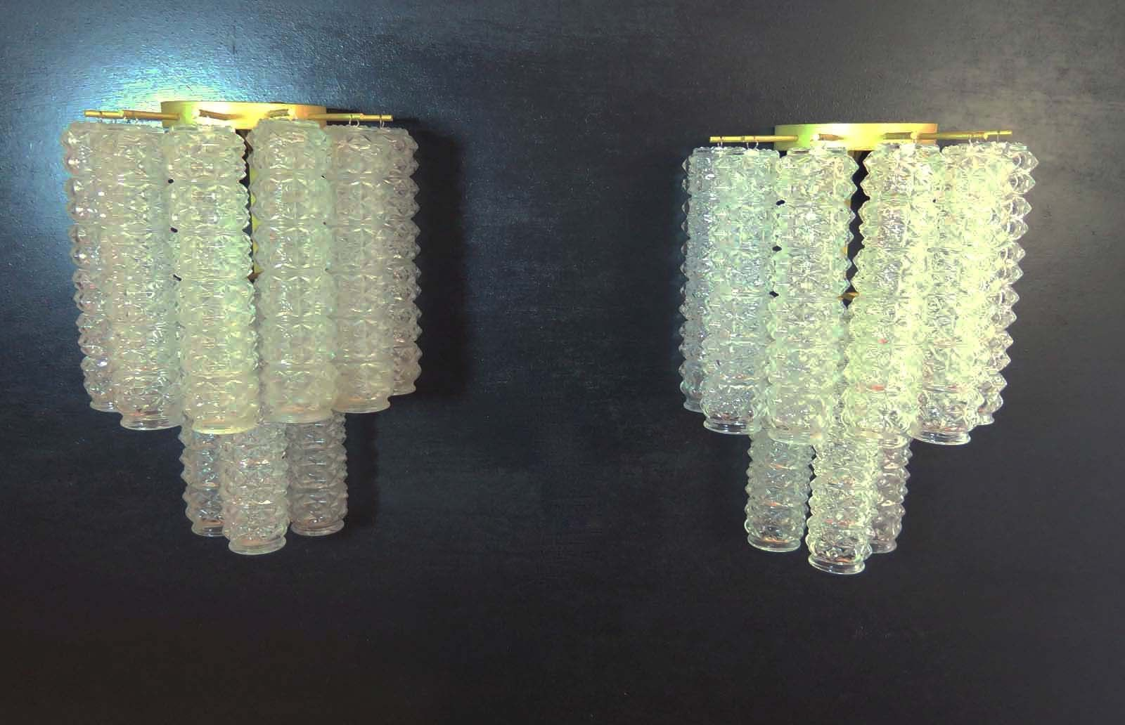 Pair of Italian vintage Murano Rostrato glass wall sconces in Barovier style