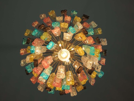 Fantastic vintage Murano chandelier made by 84 Murano crystal multicolored prism in a nickel metal frame.