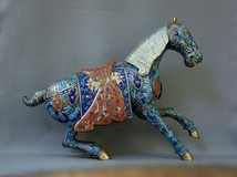 Antique horse in armour bronze sculpture