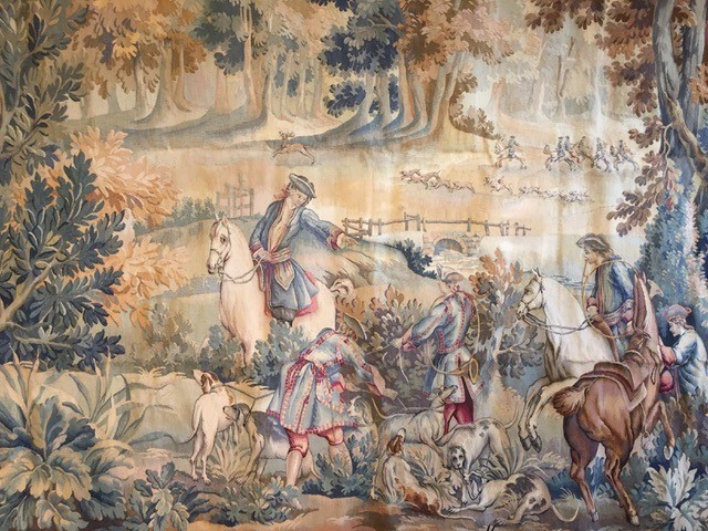 Antique Aubusson tapestry hunting scene