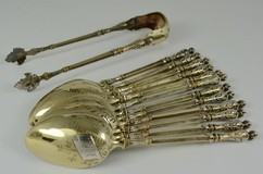 Antique set of 12 teaspoons and sugar tongs