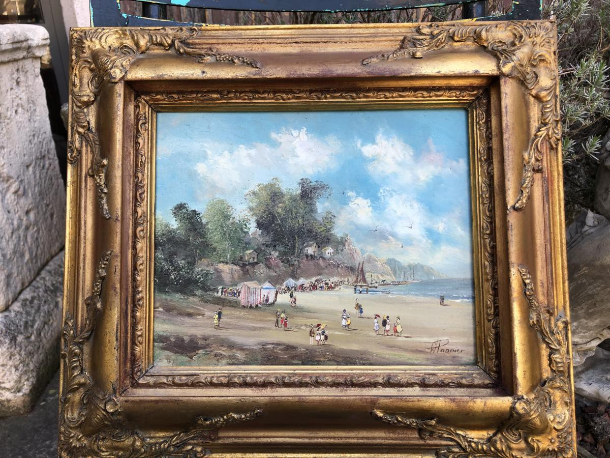 "Antique painting ""Walk To The Beach"""