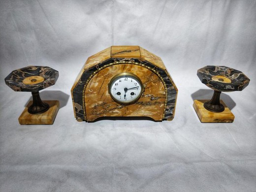 Antique fireplace clock and vases set