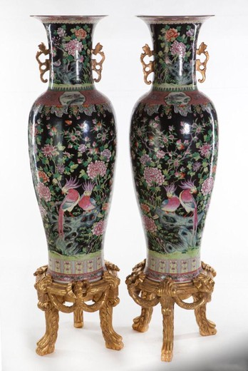 Large paired vases