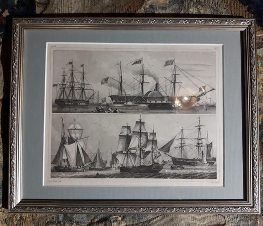 "Antique engravin ""A steamboat"""