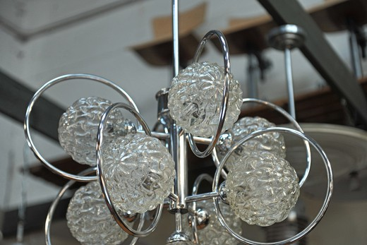 Vintage chrome and glass chandelier