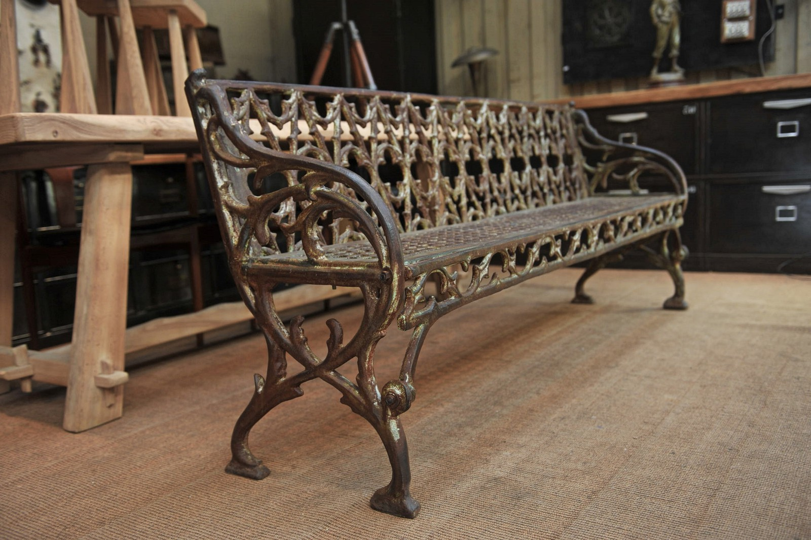 Antique art nouveau garden bench