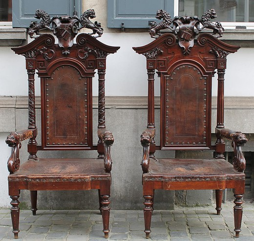 pair of magistrate chairs walnut early 19th.