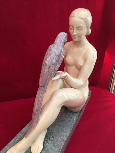 "Sculpture ""Girl with a Parrot""."