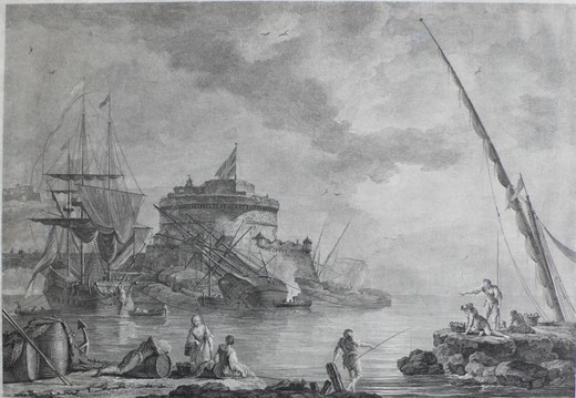 "Antique engraving ""On the Tiber"""