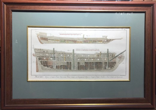 "Antique engraving ""Drawing of the ship"""