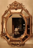 Antique octagonal mirror