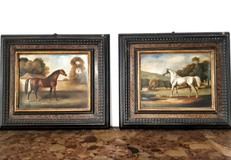 Pair antique English paintings