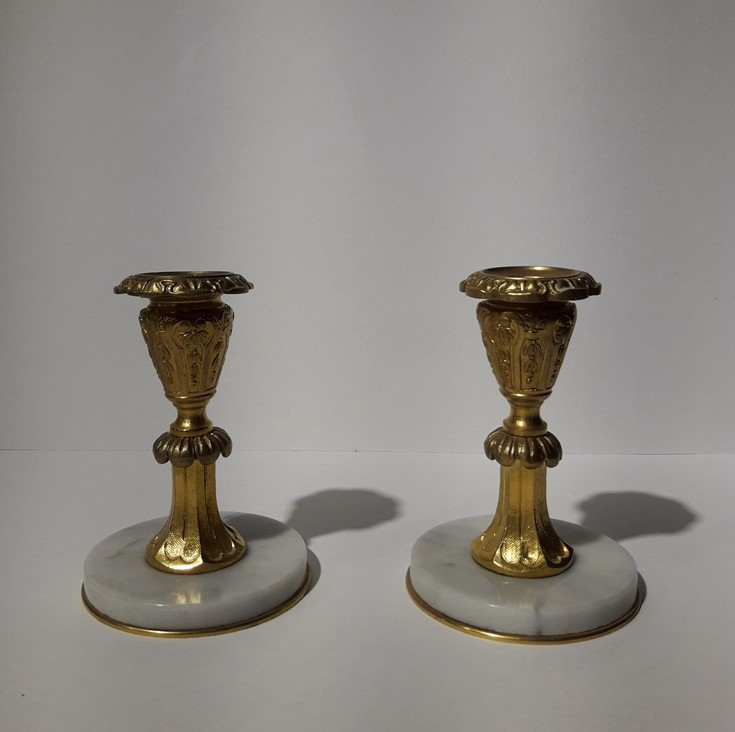 Pair antique candle holders