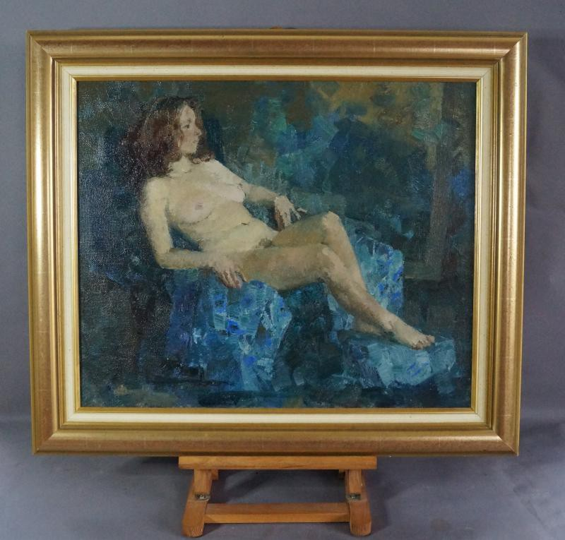 Antique painting of a nude on the blue fabric