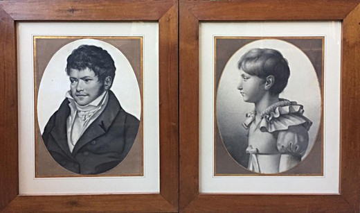 Antique twin portraits