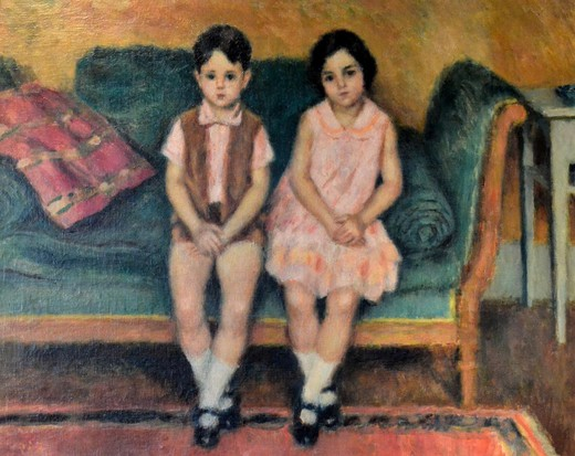 "Antique painting ""Children on the sofa"""