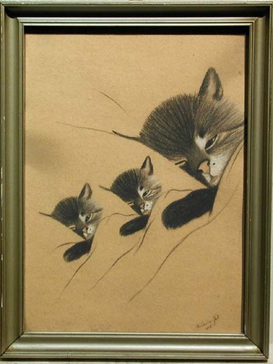 "Antique painting ""Sleeping cat with kittens"""