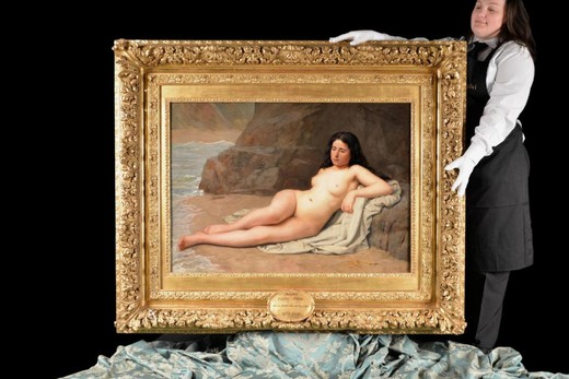 Antique rare French painting of a naked girl on the beach
