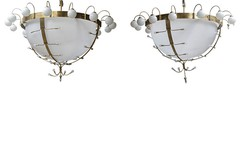 Antique large twin chandeliers