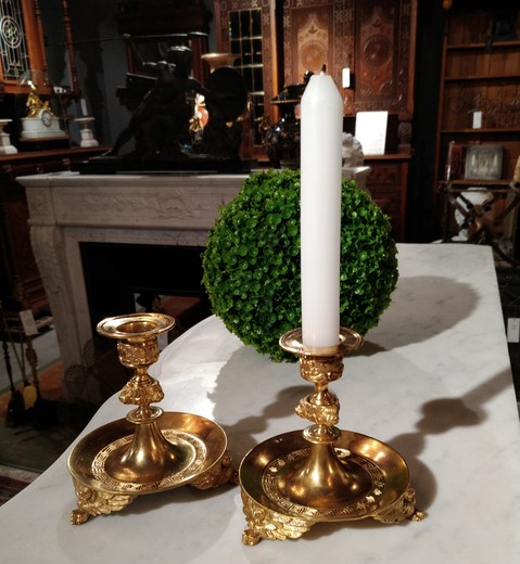 Antique pair Empire style candleholders