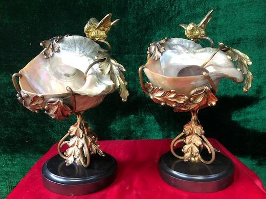 Antique pair mother of pearl shells