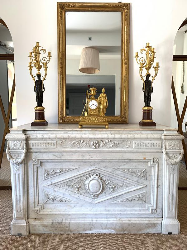 Antique rare white carrara altar