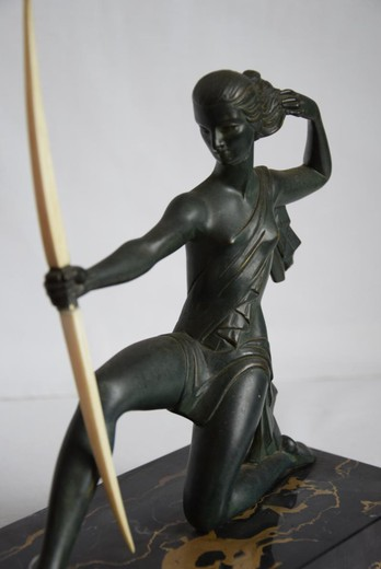 "Antique sculpture ""Diana-hunter"". It is made of bronze and bone. The base is marble. The work of the famous Spanish sculptor - Haime Sabartes i Gual. France, the 20th century."