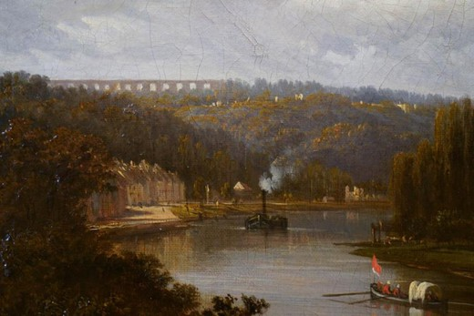 "Antique painting ""Senna in Louvecennen"""