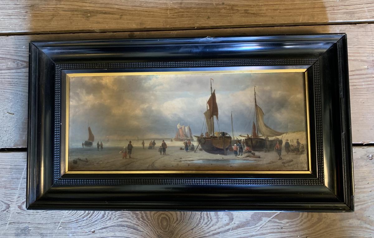 Antique painting Harbour scene