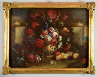 Still Life Of Flowers And Peaches